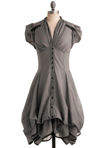 Studio Sweetheart Dress - Grey, Checkered / Gingham, Pockets, Ruffles, A-line, Short Sleeves, Long, Vintage Inspired, 40s, Steampunk, Cotton