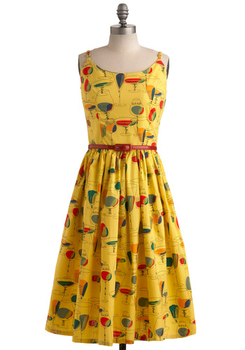 Drinks on Me Dress by Bettie Page - Yellow, Red, Orange, Green, Blue, Black, Casual, Vintage Inspired, A-line, Spaghetti Straps, Tank top (2 thick straps), Summer, Long, Press Placement, Belted, Cotton, Daytime Party, Holiday Sale, Fit & Flare, Top Rated