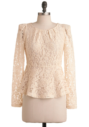 In the Right Lace Top - White, Lace, Pleats, Long Sleeve, Floral, Mid-length, Peplum, Work, Holiday Party, Top Rated