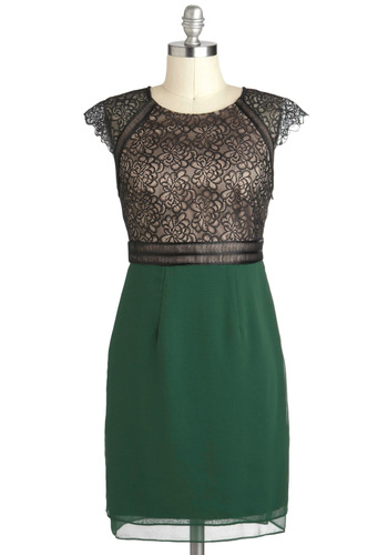 Forest Through the Breeze Dress - Green, Black, Party, Shift, Cap Sleeves, Fall, Mid-length, Cocktail, Cutout, Holiday Party