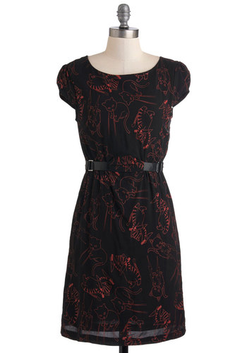 Maggie's Cat It Again Dress - Short, Black, Red, Print with Animals, Casual, A-line, Cap Sleeves