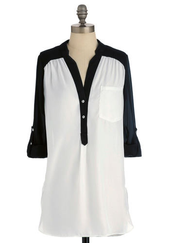 Pam Breeze-ly Tunic in Black and White - Long, White, Black, Buttons, Vintage Inspired, Long Sleeve, 3/4 Sleeve, Sheer, Best Seller, Button Down, Colorblocking, V Neck, Casual, Variation, Beach/Resort, Basic, White, Tab Sleeve