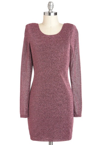 Pink the Unthinkable Dress - Pink, Solid, Glitter, Party, Long Sleeve, Short, Backless, Shift
