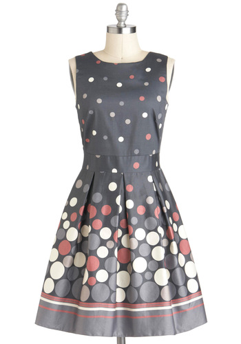Make the Rounds Dress - Multi, Polka Dots, Party, Sleeveless, Cotton, Mid-length, Blue, Lace, Belted, Exposed zipper, Pockets, Daytime Party, Vintage Inspired, Fit & Flare