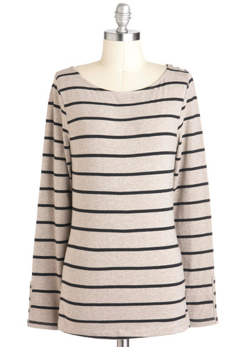A New Latitude Top - Cotton, Mid-length, Jersey, Tan, Black, Stripes, Casual, Long Sleeve