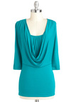 Cascading Character Top - Jersey, Green, Solid, Work, Casual, 3/4 Sleeve, Cowl, Minimal, Mid-length