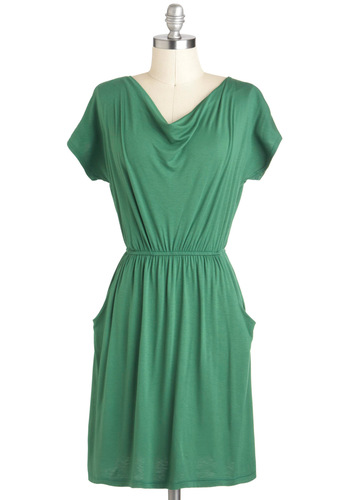 Forever and Everyday Dress - Mid-length, Green, Solid, Cutout, Pockets, Casual, Short Sleeves, Travel, Summer