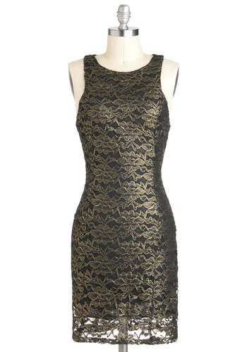 Worth Your Taste in Gold Dress - Lace, Shift, Sleeveless, Mid-length, Cocktail, Gold, Black, Exposed zipper, Holiday Party
