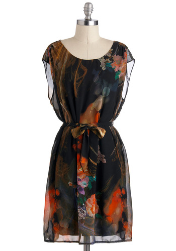 Evening Illusions Dress - Floral, A-line, Sleeveless, Mid-length, Belted, Black, Multi, Party