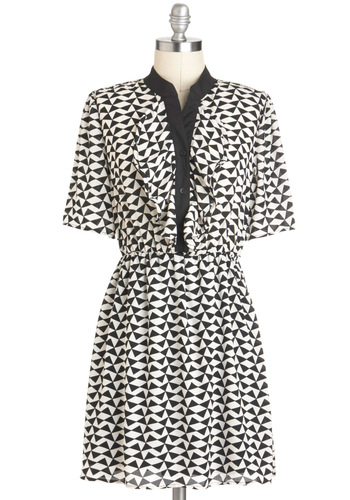 Tri to See It My Way Dress - Short, Black, White, Print, Buttons, Work, Casual, Vintage Inspired, 80s, Ruffles, Short Sleeves