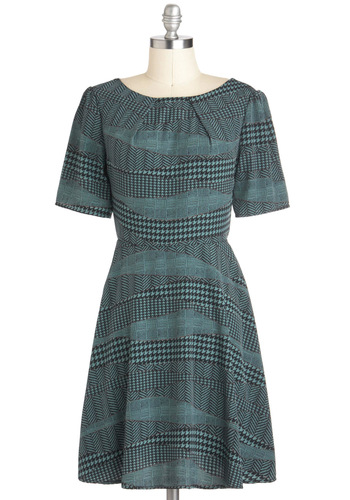 In a Stitch Dress - Mid-length, Houndstooth, Work, Fall, Green, Grey, A-line, Short Sleeves
