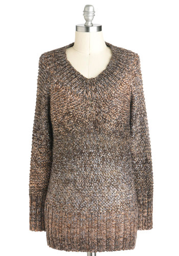 Dune Drift Sweater - Brown, Brown, Knitted, Long Sleeve, V Neck, Sheer, Mid-length, Casual, Rustic