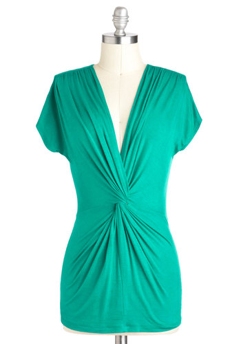 Jade to Love You Top - Green, Short Sleeves, V Neck, Jersey, Mid-length
