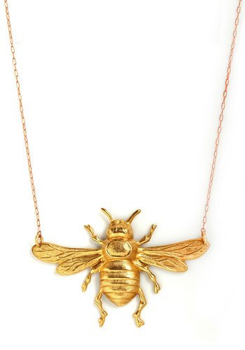 Buzz Worthy Beauty Necklace by Erica Weiner - Gold, Print with Animals
