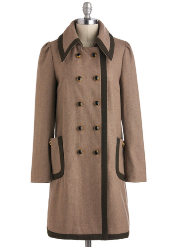 Cherry Warm and Cozy Coat in Hazelnut by Dear Creatures - Long, Brown, Green, Solid, Buttons, Pockets, Double Breasted, Long Sleeve, Winter, 3, Work, Military