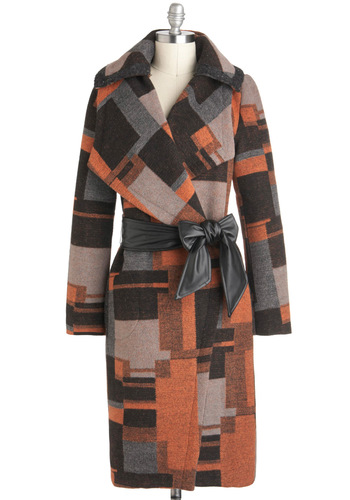 Mid-Century Mystery Coat by Pink Martini - Long, 4, Multi, Orange, Brown, Grey, Print, Long Sleeve, Pockets, Belted, Folk Art, Rustic, Winter