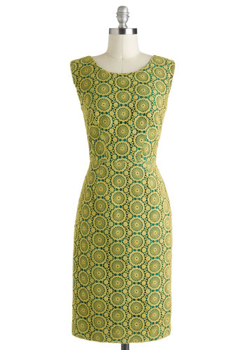 Might and Main Squeeze Dress by Corey Lynn Calter - Exclusives, Cotton, Long, Green, Yellow, Crochet, Cutout, Sheath / Shift, Sleeveless, Daytime Party, Party, Vintage Inspired, 60s, Luxe