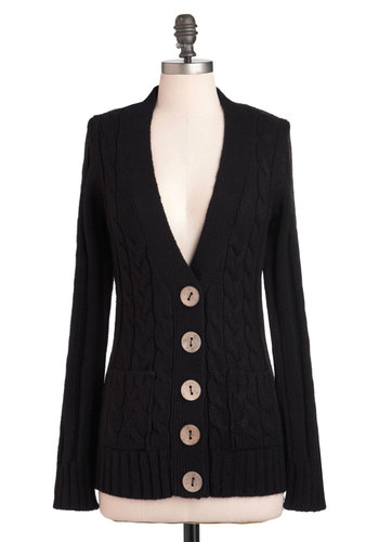 Your Fireside of the Story Cardigan in Coal - Mid-length, Black, Solid, Buttons, Knitted, Work, Casual, Long Sleeve, Fall