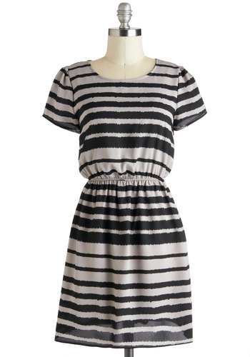 Drawn to Greyscale Dress - Grey, Black, Stripes, Casual, A-line, Short Sleeves, Short