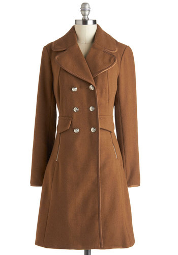 Horse and Carriage Coat - Brown, Solid, Buttons, Pockets, Double Breasted, Long Sleeve, Fall, 3, Long