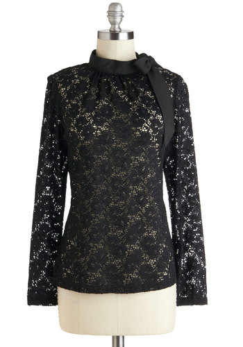 Front Desk Fashionista Top - Sheer, Mid-length, Black, Solid, Bows, Lace, Party, Work, Long Sleeve, Film Noir
