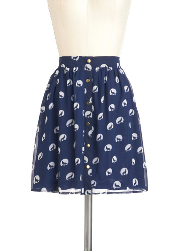 When, Where, and Howl Skirt by Sugarhill Boutique - Blue, White, Print with Animals, Buttons, Casual, A-line, Spring, Short, International Designer
