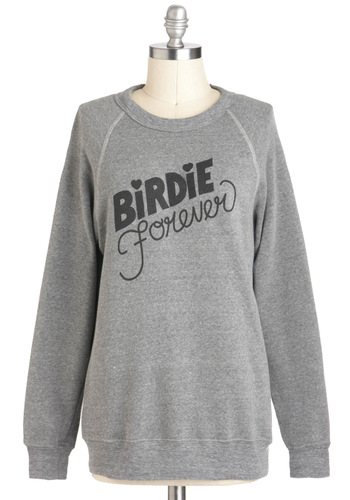Rachel Antonoff Color Me Badminton Sweatshirt by Rachel Antonoff - Grey, Black, Casual, Long Sleeve, Fall, Mid-length, Travel, Sweatshirt, Grey, Long Sleeve
