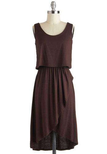 Dark Chocolate Bar Dress - Short, Jersey, Brown, Solid, Casual, Minimal, High-Low Hem, Tank top (2 thick straps)