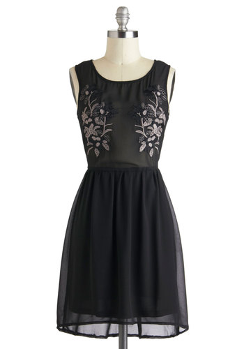 Loft Fête Dress - Black, Solid, Embroidery, Party, Cocktail, Vintage Inspired, A-line, Sleeveless, Short, Sheer, Holiday Party