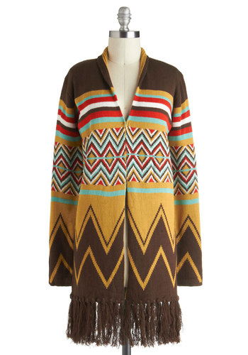 Out-of-State Dinner Date Cardigan - Brown, Red, Green, Tan / Cream, Fringed, Long Sleeve, Boho, Folk Art, Rustic, Winter