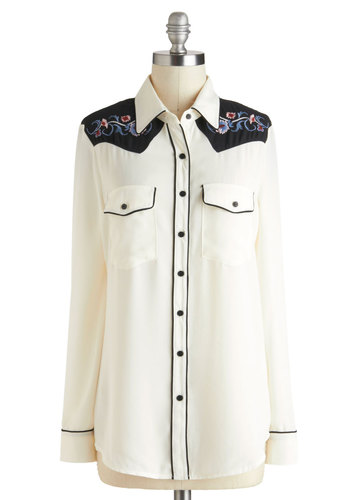 Best in the West Top - Sheer, White, Black, Buttons, Embroidery, Rockabilly, Vintage Inspired, Long Sleeve, Multi, Trim, Casual