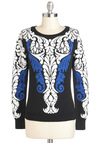 Rococo Reverie Sweater - Cotton, Mid-length, Blue, White, Print, Casual, Long Sleeve, Black, Fall