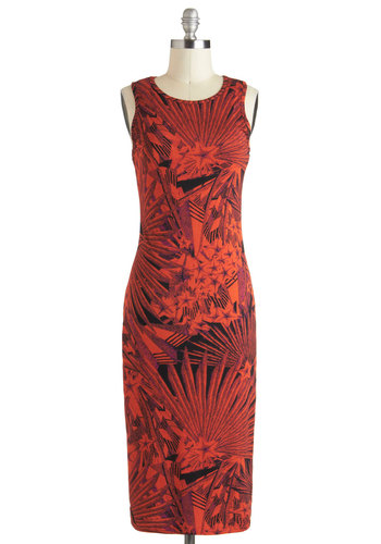 Comet Your Match Dress - Long, Jersey, Orange, Black, Print, Casual, Shift, Sleeveless