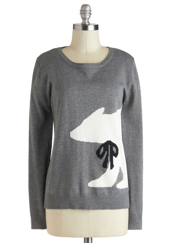 Arctic Inner-Circle Sweater by Sugarhill Boutique - Grey, Black, Print with Animals, Casual, Long Sleeve, Winter, Mid-length, White, International Designer