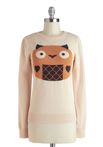 Kawaii Oh My Sweater - Cotton, Mid-length, Orange, Brown, Casual, Kawaii, Quirky, Long Sleeve, Cream, Print with Animals, Crew
