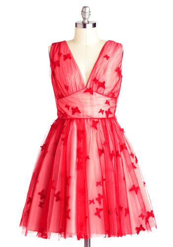 Butterfly Me to the Moon Dress by Nishe - Mid-length, Red, Bows, Formal, Ballerina / Tutu, Sleeveless, V Neck, Prom, Print with Animals, Cocktail, Luxe, Statement, International Designer, Holiday Party