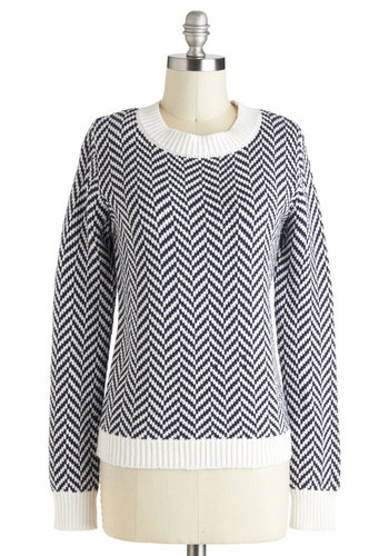 Taking Knit Easy Sweater - Cotton, Mid-length, White, Herringbone, Casual, Long Sleeve, Blue