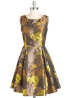 Good Impressionism Dress by Louche - Mid-length, Yellow, Brown, Floral, Bows, Cutout, Pleats, Pockets, Cocktail, Sleeveless, Holiday Party, International Designer, Bronze, Fit & Flare