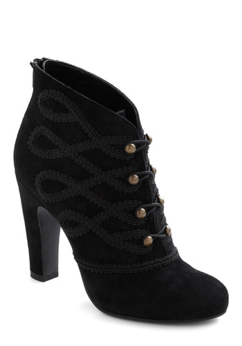 Can't Stand the Heat Boot by Seychelles - Black, Solid, Buttons, Embroidery, High, French / Victorian, Luxe, Leather
