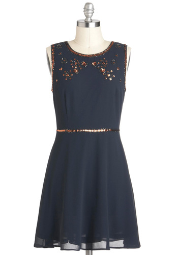 Moonrise Bling-dom Dress - Solid, Beads, Sequins, Party, A-line, Sleeveless, Mid-length, Blue, Bronze