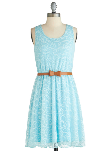 Swirls Will Be Swirls Dress - Mid-length, Blue, Belted, Daytime Party, A-line, Sleeveless, Spring, Graduation, Scoop, Summer