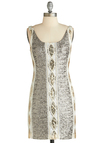 Glistening Party Dress - Short, White, Gold, Sequins, Party, Holiday Party, Sheath / Shift, Sleeveless, Silver, 20s, Exclusives, Scoop, Special Occasion