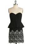 Heart On Your Leaves Dress - Short, Black, White, Embroidery, Cocktail, Peplum, Strapless, Sweetheart, Exclusives