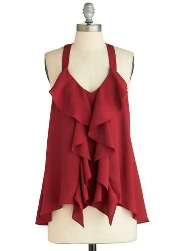 Merlot and Behold Top - Red, Solid, Lace, Ruffles, Cocktail, Girls Night Out, Holiday Party, Halter, Mid-length, Summer, Exclusives, Red, Tank Top, Valentine's