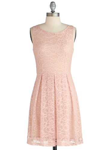 Pastel It Like It Is Dress - Pink, Solid, Pleats, Daytime Party, Pastel, A-line, Sleeveless, Graduation, Mid-length