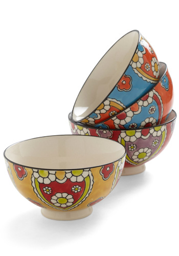 Garden Garnish Bowl Set - Multi, Boho, 70s, Mod, Tis the Season Sale