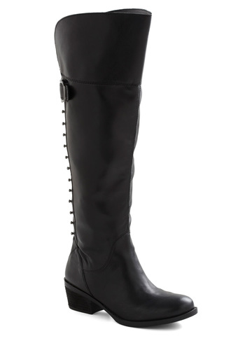 Snappy-Go-Lucky Boot - Black, Solid, Studs, Mid-length, Buckles, Urban, Steampunk, Low, Tis the Season Sale