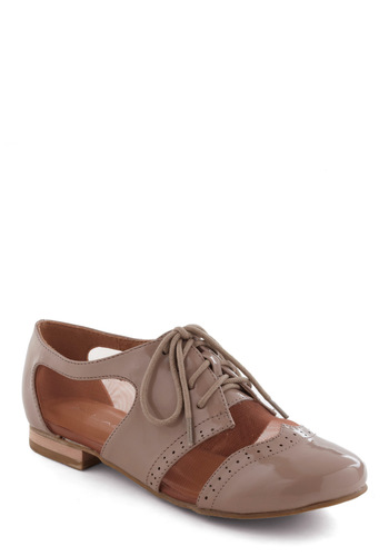 Mushroom Risotto Shoe - Tan, Menswear Inspired, Flat, Lace Up, Work, Casual