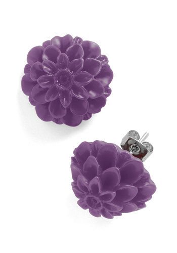 Retro Dollie Earrings in Purple - Flower, Purple, Vintage Inspired, Tis the Season Sale, 60s, Bridesmaid