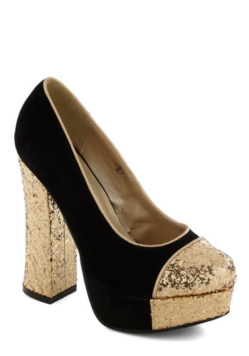 Gold Coast Heel in Black - Black, Gold, Glitter, High, Platform, Vintage Inspired, 70s, Luxe
